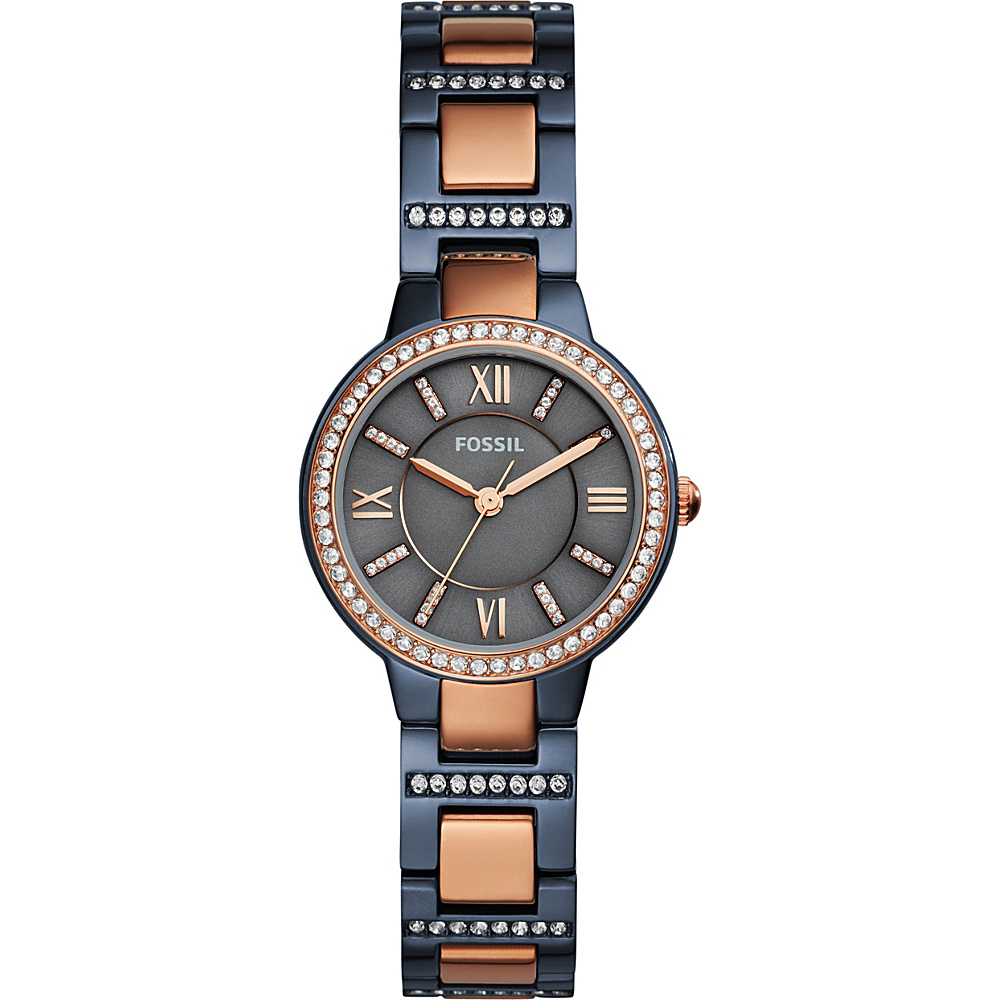 Fossil Virginia Three-Hand Two-Tone Watch Blue - Fossil Watches - Fashion Accessories, Watches