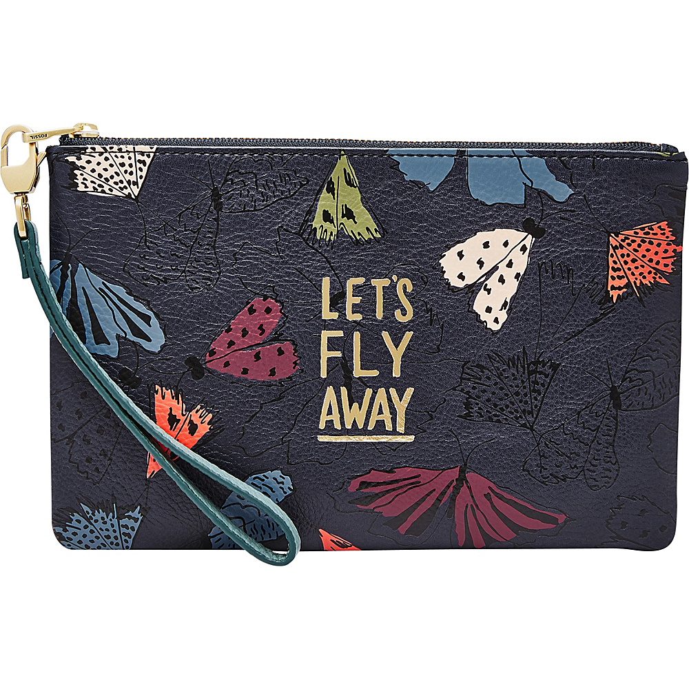 Fossil RFID Wristlet Navy Multi - Fossil Designer Handbags - Handbags, Designer Handbags