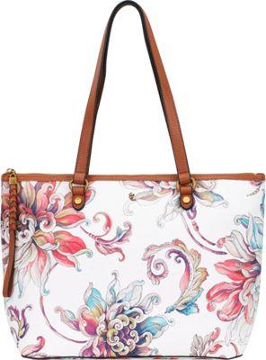 Elliott Lucca Aria Small Tote White Wildflower - Elliott Lucca Designer Handbags