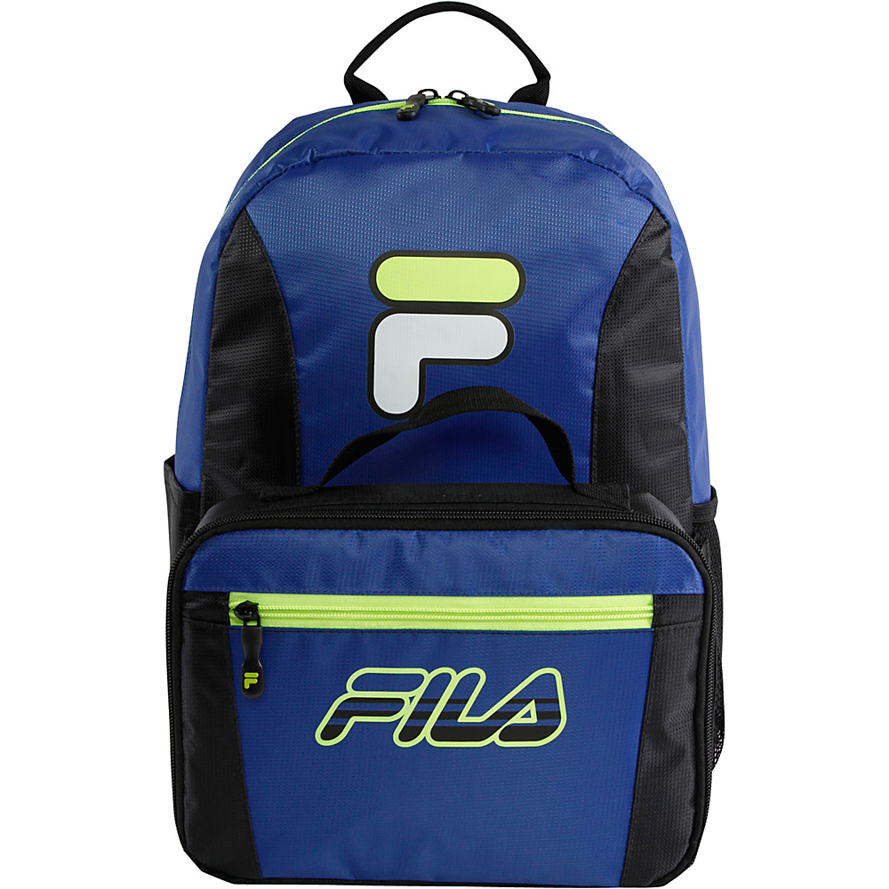 67a1247432c2 Fila Noontide Lunch Box Combo Backpack Blue Lime - Fila School   Day Hiking  Backpacks