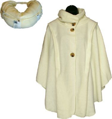 LollyZip Wrap n' Roll Travel Cape and Neck Pillow in One One Size  - Ivory - LollyZip Women's Apparel