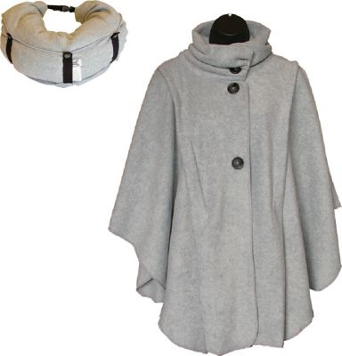 LollyZip Wrap n' Roll Travel Cape and Neck Pillow in One One Size  - Light Grey - LollyZip Women's Apparel