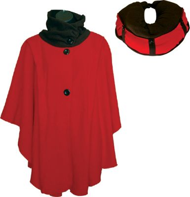 LollyZip Wrap n' Roll Travel Cape and Neck Pillow in One One Size  - Ruby Red - LollyZip Women's Apparel