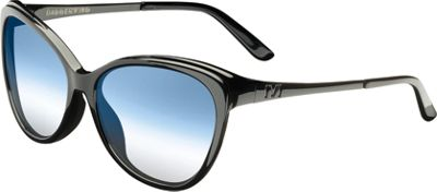 IVI Daggerwing Sunglasses Polished Black - Gloss Black/Blue Chrome Flash Len - IVI Eyewear