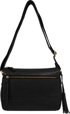 Great American Leatherworks Braid and Tassel Crossbody Black Neutral/Black - Great American Leatherworks Leather Handbags