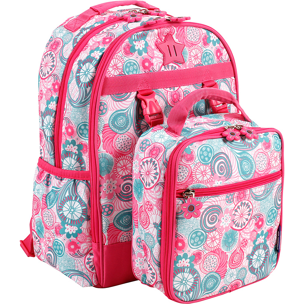 J World New York Duet Kids Backpack with Lunch Bag Blue Raspberry - J World New York Rolling Backpacks - Backpacks, Rolling Backpacks