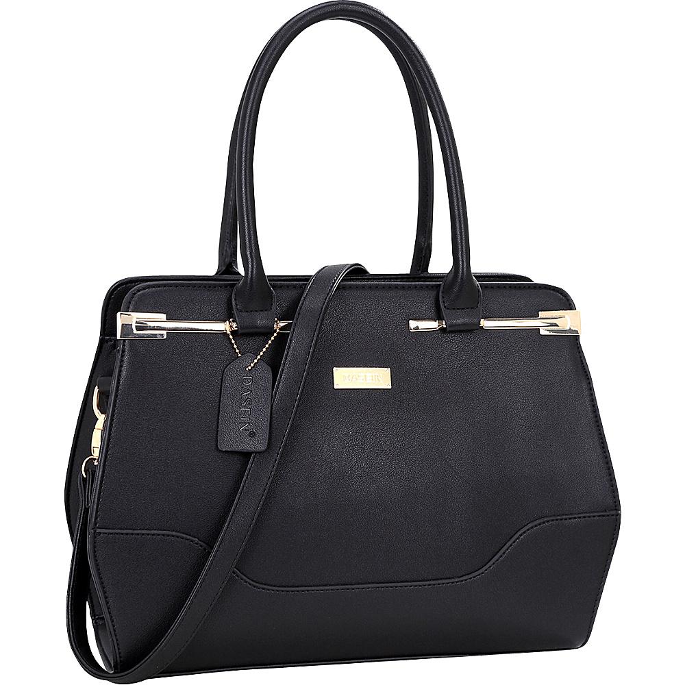 Dasein Fashion Gold Accented Satchel Black - Dasein Manmade Handbags - Handbags, Manmade Handbags