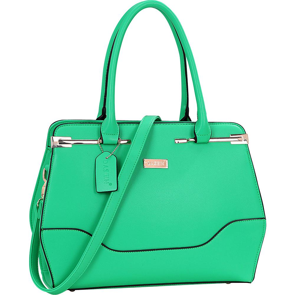 Dasein Fashion Gold Accented Satchel Green - Dasein Manmade Handbags - Handbags, Manmade Handbags