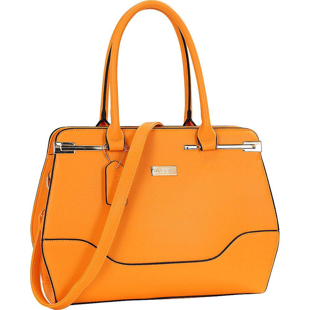 Dasein Fashion Gold Accented Satchel Orange - Dasein Manmade Handbags - Handbags, Manmade Handbags