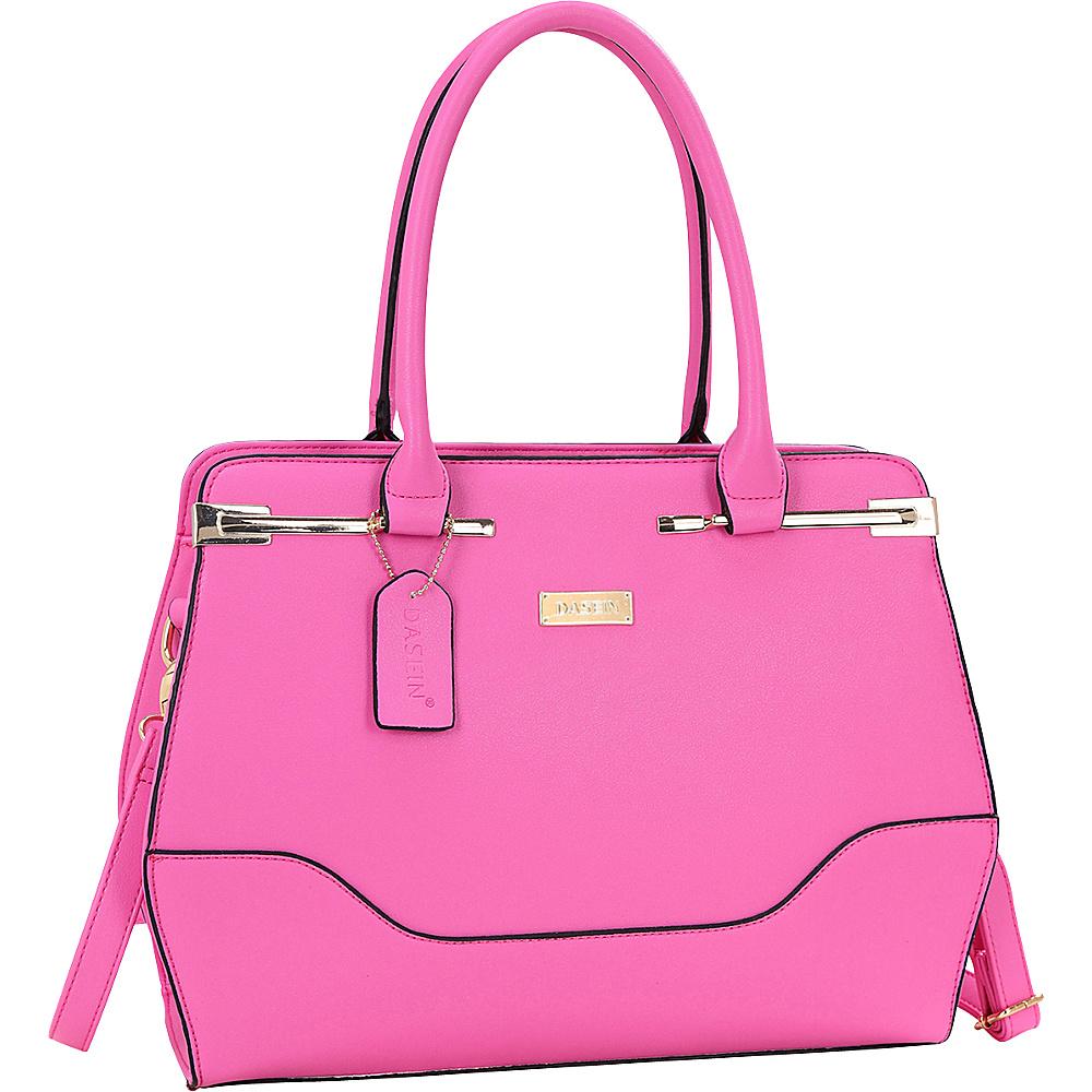 Dasein Fashion Gold Accented Satchel Rose - Dasein Manmade Handbags - Handbags, Manmade Handbags