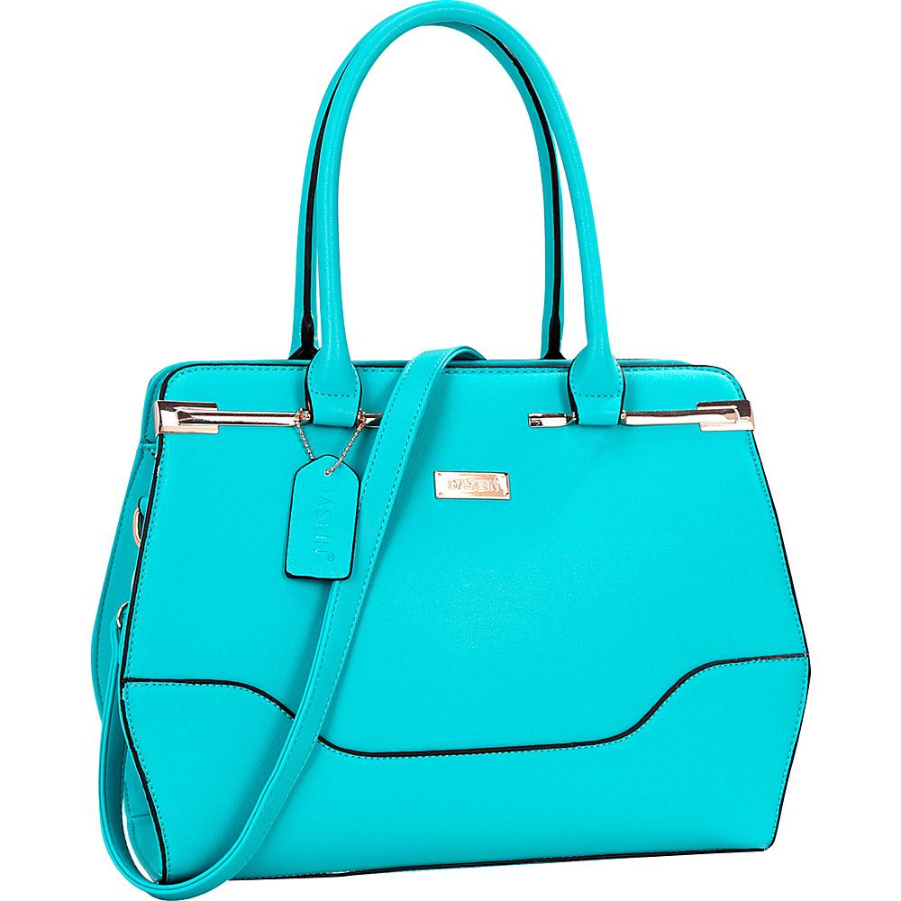 Dasein Fashion Gold Accented Satchel Blue - Dasein Manmade Handbags - Handbags, Manmade Handbags