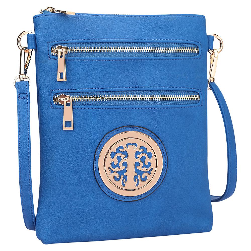Dasein Gold-Tone Messenger Crossbody Blue - Dasein Manmade Handbags - Handbags, Manmade Handbags