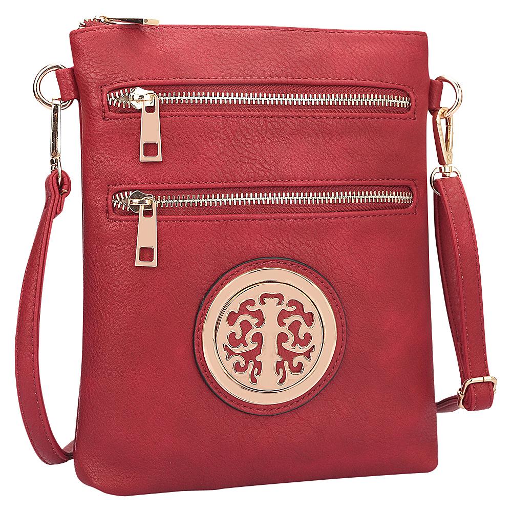 Dasein Gold-Tone Messenger Crossbody Red - Dasein Manmade Handbags - Handbags, Manmade Handbags