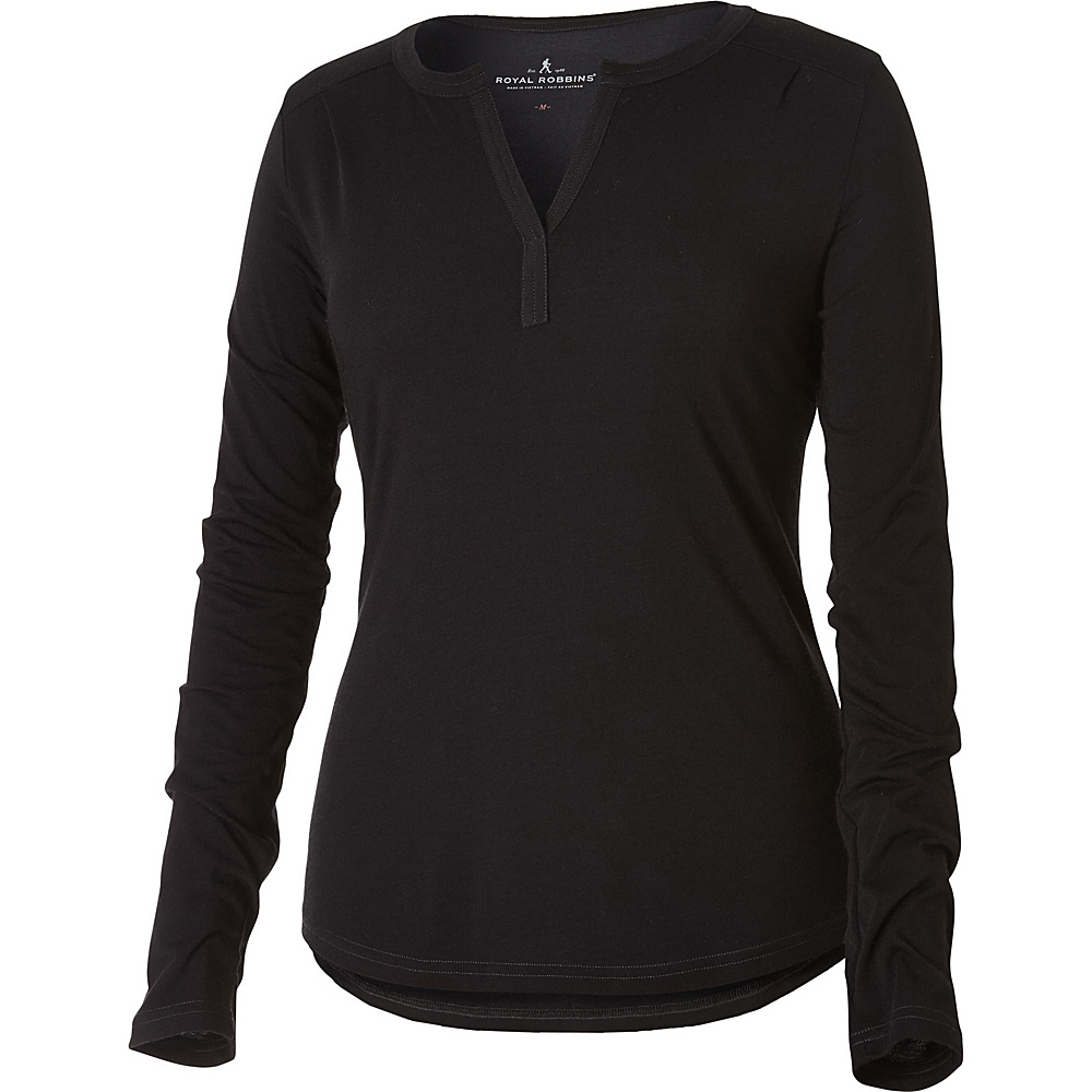 Royal Robbins Womens MerinoLux Henley M - Jet Black - Royal Robbins Womens Apparel - Apparel & Footwear, Women's Apparel
