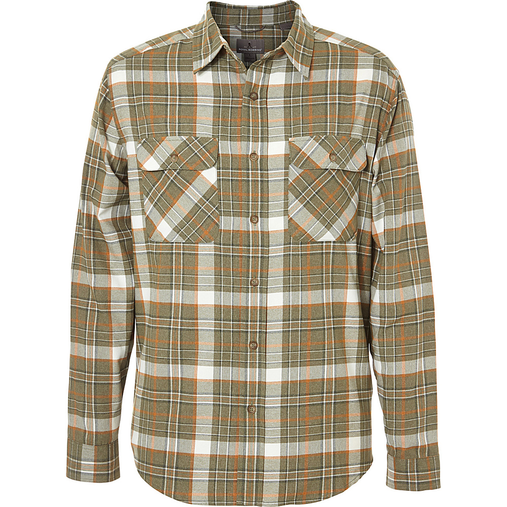 Royal Robbins Mens Performance Flannel Plaid Long Sleeve Shirt XL - Fiddlehead - Royal Robbins Mens Apparel - Apparel & Footwear, Men's Apparel