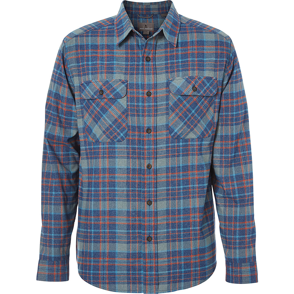 Royal Robbins Mens Performance Flannel Plaid Long Sleeve Shirt S - Poseidon - Royal Robbins Mens Apparel - Apparel & Footwear, Men's Apparel