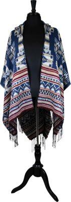 Bear Paw Star Gazer Hood Ruana One Size  - Navy/Tan/Bordeaux - Bear Paw Women's Apparel