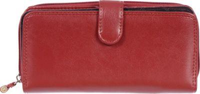 Club Rochelier Zip Around Clutch Wallet with Tab Red - Club Rochelier Women's Wallets