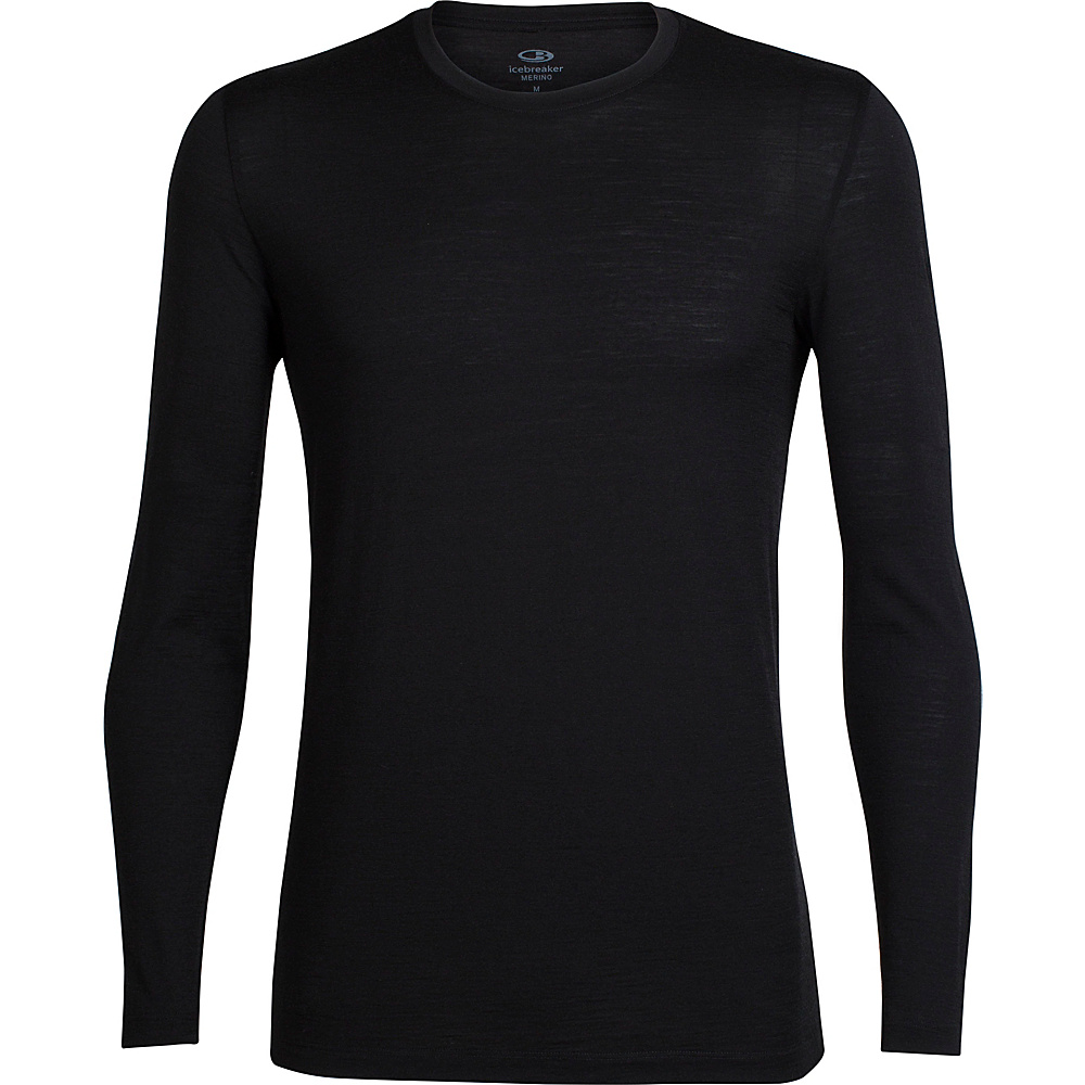Icebreaker Mens Tech Lite Long Sleeve Crewe S - Black - Icebreaker Mens Apparel - Apparel & Footwear, Men's Apparel