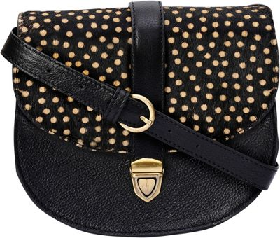 Phive Rivers Front Buckle Polka Dot Leather Crossbody Black - Phive Rivers Leather Handbags
