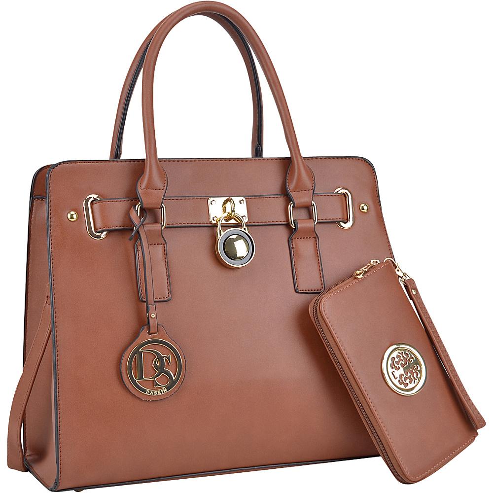 Dasein Large Padlock Satchel with Matching Wallet Brown - Dasein Manmade Handbags - Handbags, Manmade Handbags