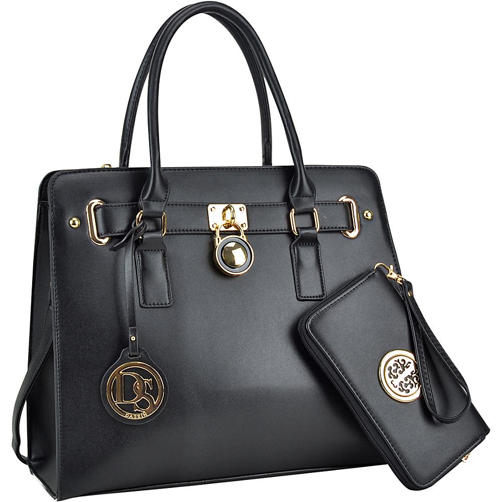 Dasein Large Padlock Satchel with Matching Wallet Black - Dasein Manmade Handbags - Handbags, Manmade Handbags