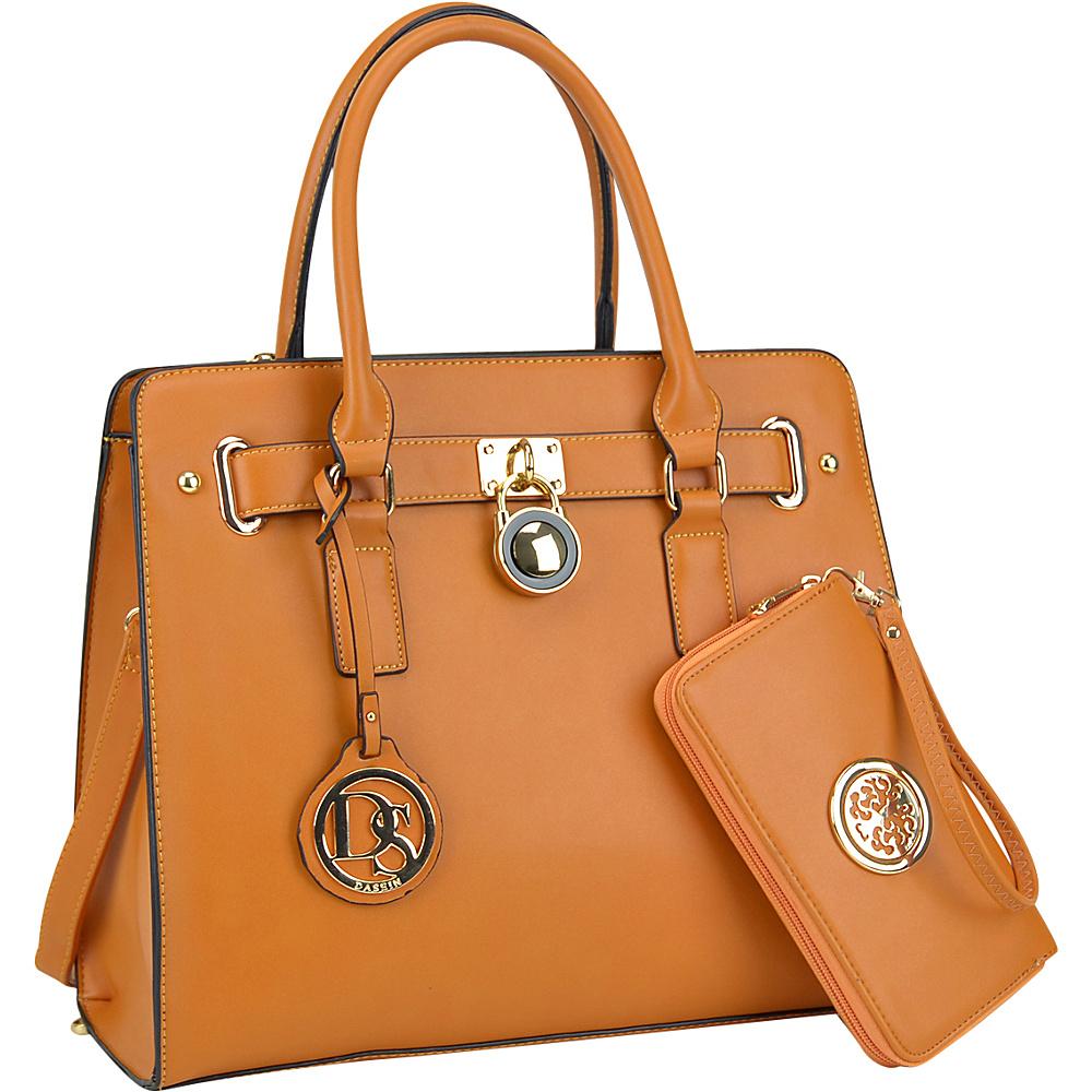 Dasein Large Padlock Satchel with Matching Wallet Tan - Dasein Manmade Handbags - Handbags, Manmade Handbags