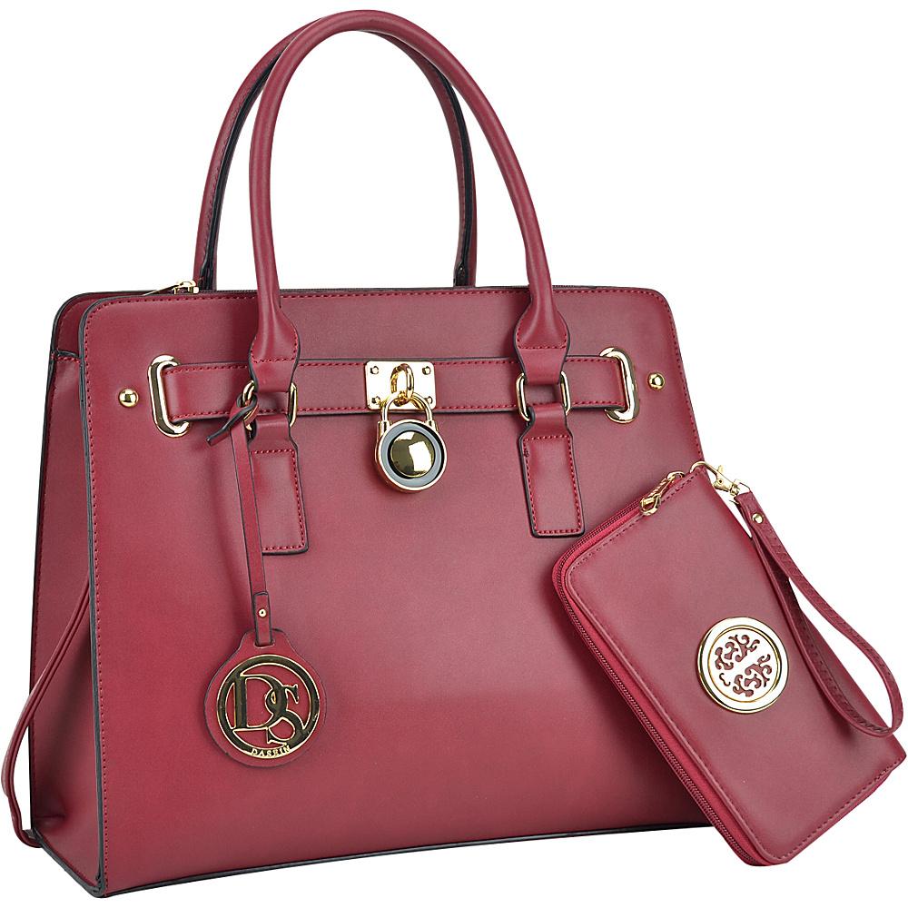 Dasein Large Padlock Satchel with Matching Wallet Burgundy - Dasein Manmade Handbags - Handbags, Manmade Handbags