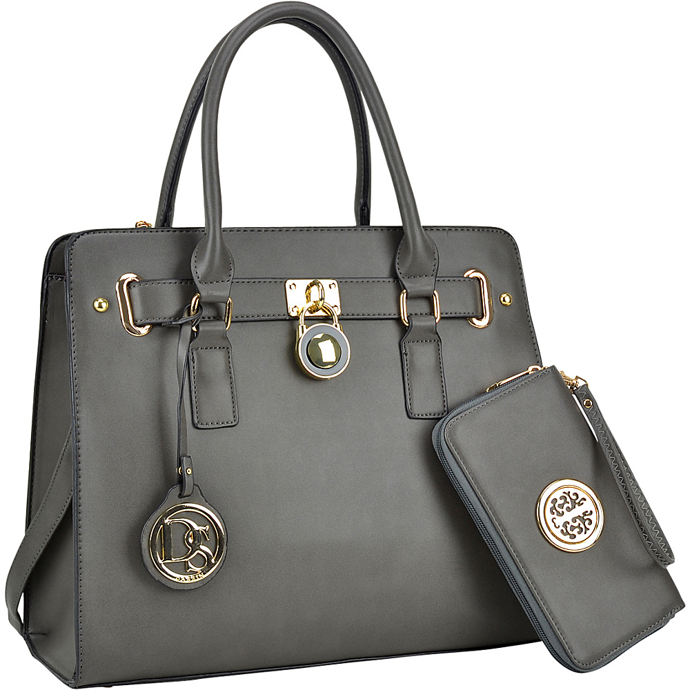 Dasein Large Padlock Satchel with Matching Wallet Dark Grey - Dasein Manmade Handbags - Handbags, Manmade Handbags
