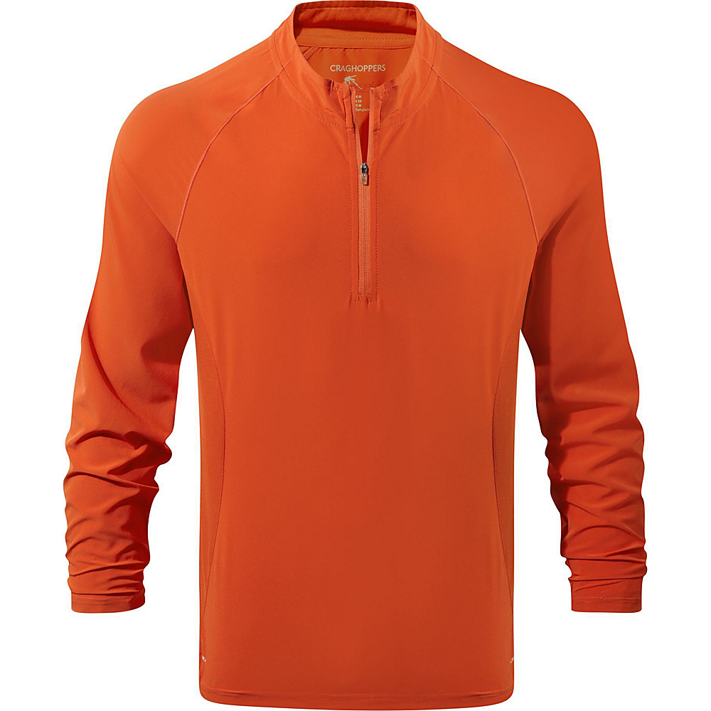 Craghoppers NosiLife Active Long Sleeve Half-Zip L - Spiced Orange - Craghoppers Mens Apparel - Apparel & Footwear, Men's Apparel