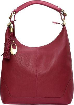 Phive Rivers Top Zip Leather Hobo with Tassel Burgundy - Phive Rivers Leather Handbags