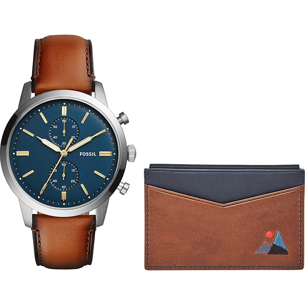 Fossil Townsman 44mm Chronograph Leather Watch and Wallet Box Set Brown - Fossil Watches - Fashion Accessories, Watches