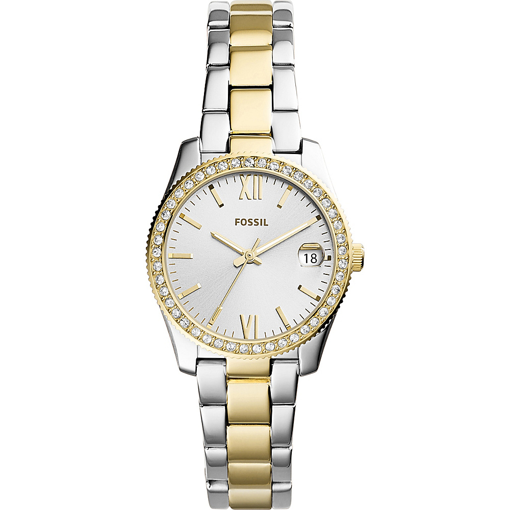 Fossil Scarlette Three-Hand Date Two-Tone Stainless Steel Watch Silver - Fossil Watches - Fashion Accessories, Watches