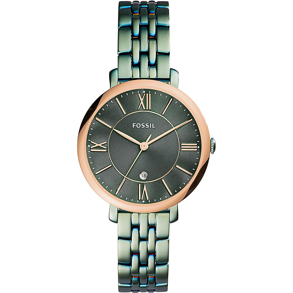 Fossil Jacqueline Three-Hand Date Stainless Steel Watch Green - Fossil Watches - Fashion Accessories, Watches