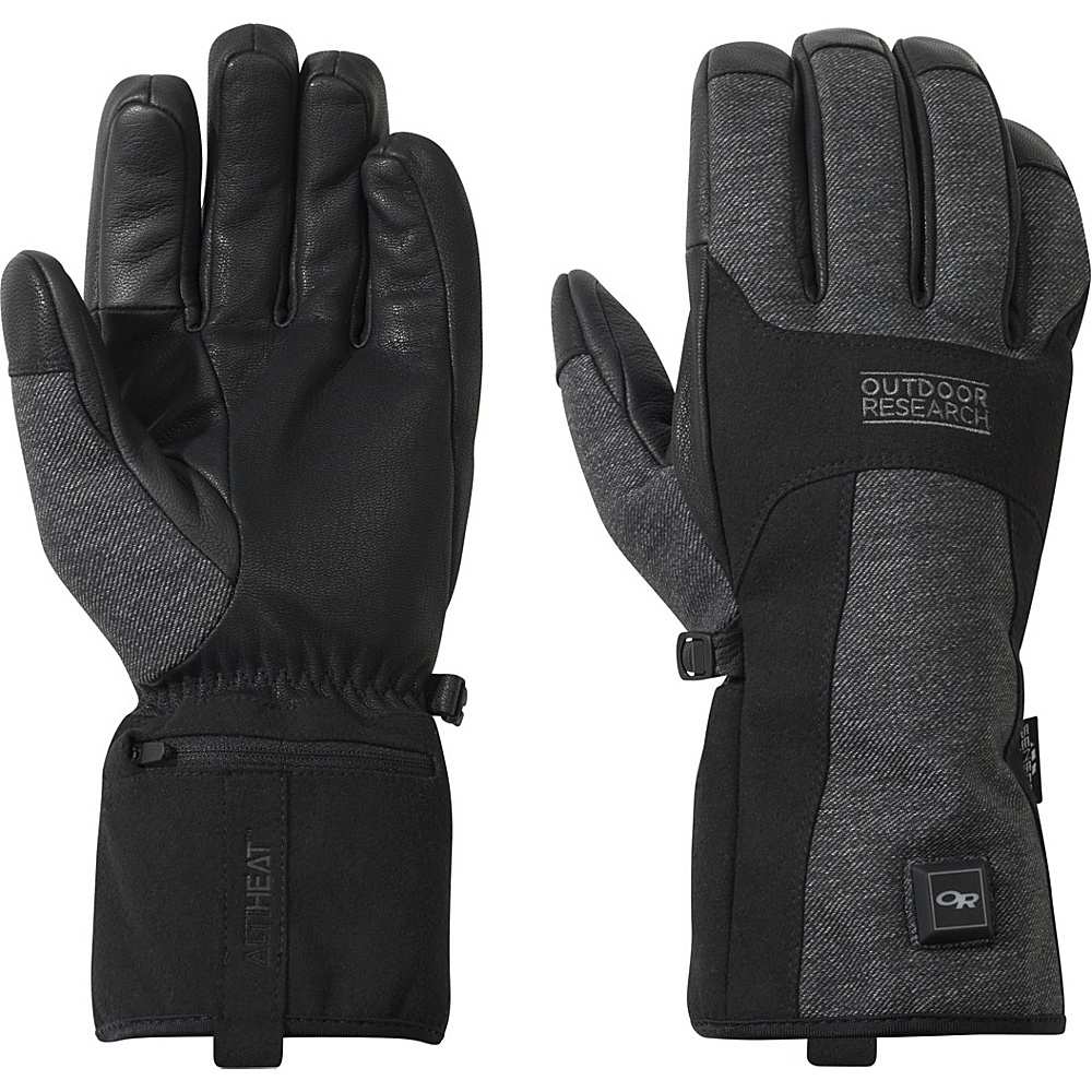 Outdoor Research Oberland Heated Gloves XL - Black/Charcoal - Outdoor Research Hats/Gloves/Scarves - Fashion Accessories, Hats/Gloves/Scarves
