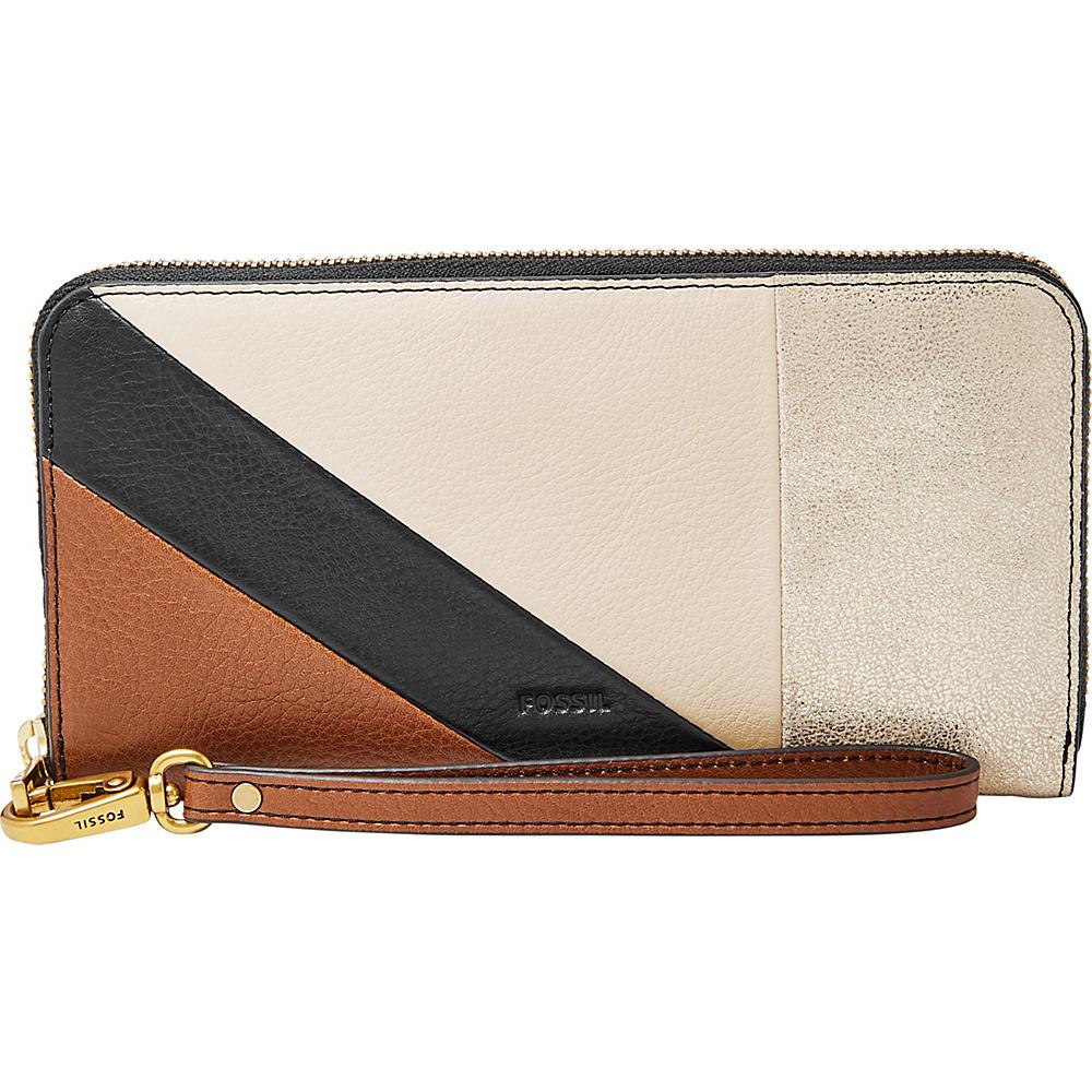 Fossil Emma RFID Large Zip Clutch Neutrail Stripe - Fossil Womens Wallets - Women's SLG, Women's Wallets