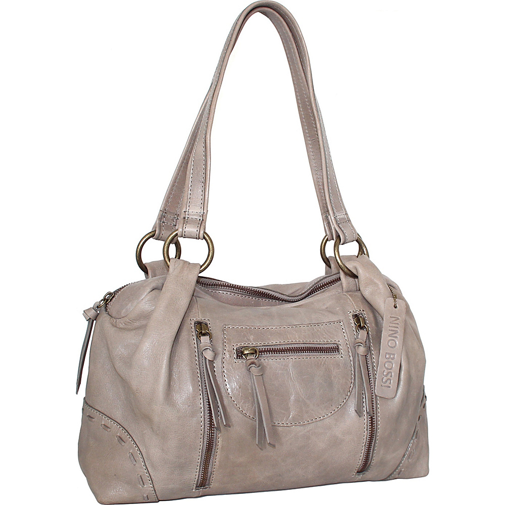Nino Bossi Emery Satchel Stone - Nino Bossi Leather Handbags - Handbags, Leather Handbags