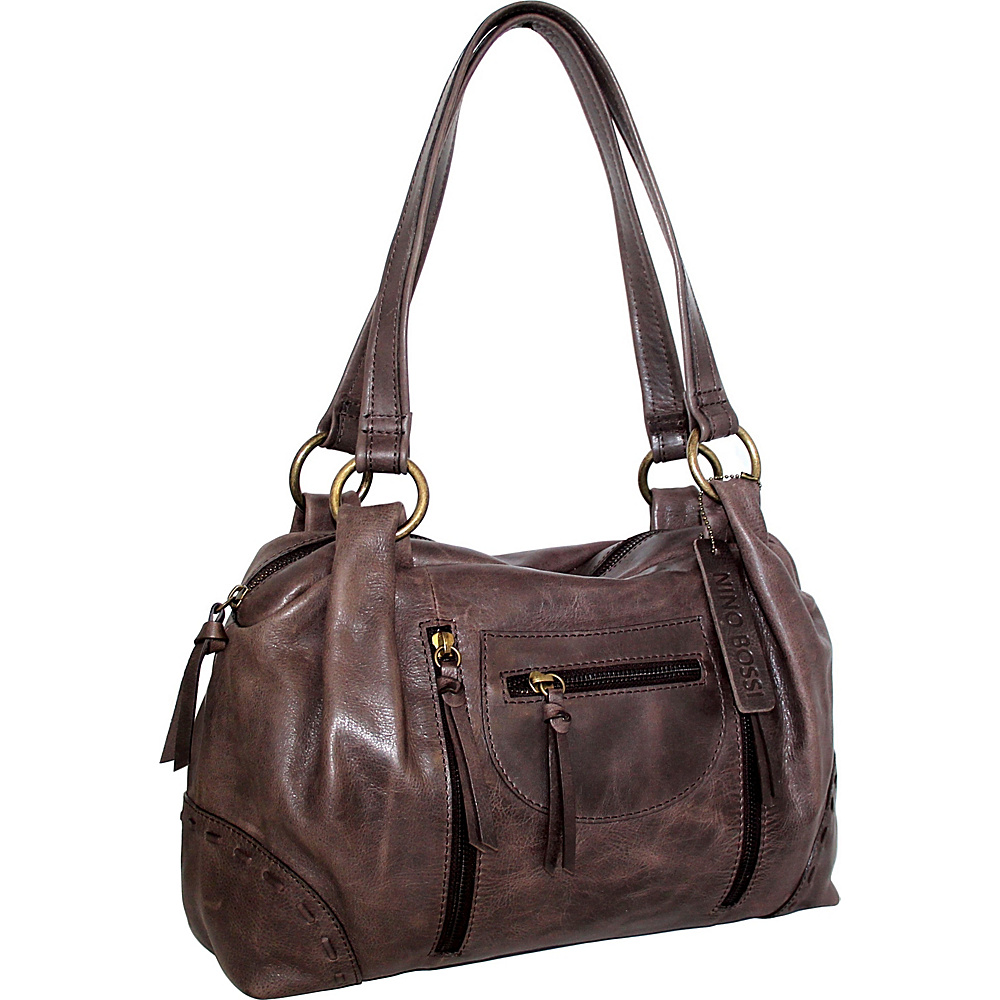 Nino Bossi Emery Satchel Chocolate - Nino Bossi Leather Handbags - Handbags, Leather Handbags