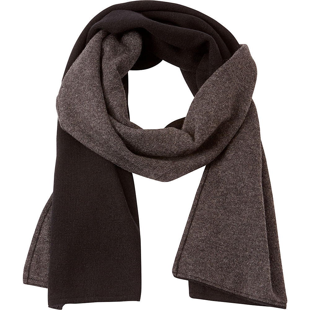 Kinross Cashmere 2Tone Scarf Black/Charcoal - Kinross Cashmere Hats/Gloves/Scarves - Fashion Accessories, Hats/Gloves/Scarves