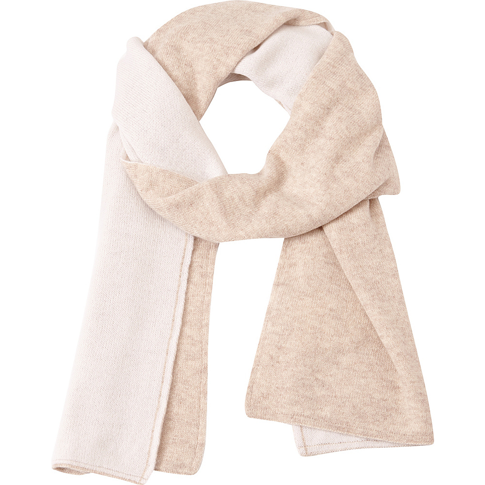 Kinross Cashmere 2Tone Scarf Fawn/Ivory - Kinross Cashmere Hats/Gloves/Scarves - Fashion Accessories, Hats/Gloves/Scarves