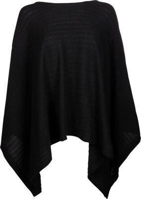 Kinross Cashmere Rib Pullover Poncho One Size  - Black - Kinross Cashmere Women's Apparel