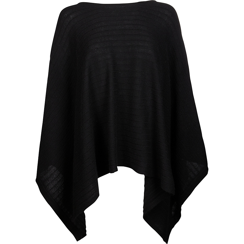 Kinross Cashmere Rib Pullover Poncho One Size  - Black - Kinross Cashmere Womens Apparel - Apparel & Footwear, Women's Apparel