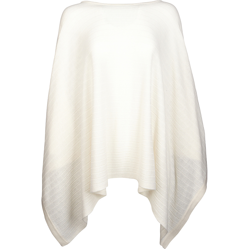 Kinross Cashmere Rib Pullover Poncho One Size  - Ivory - Kinross Cashmere Womens Apparel - Apparel & Footwear, Women's Apparel