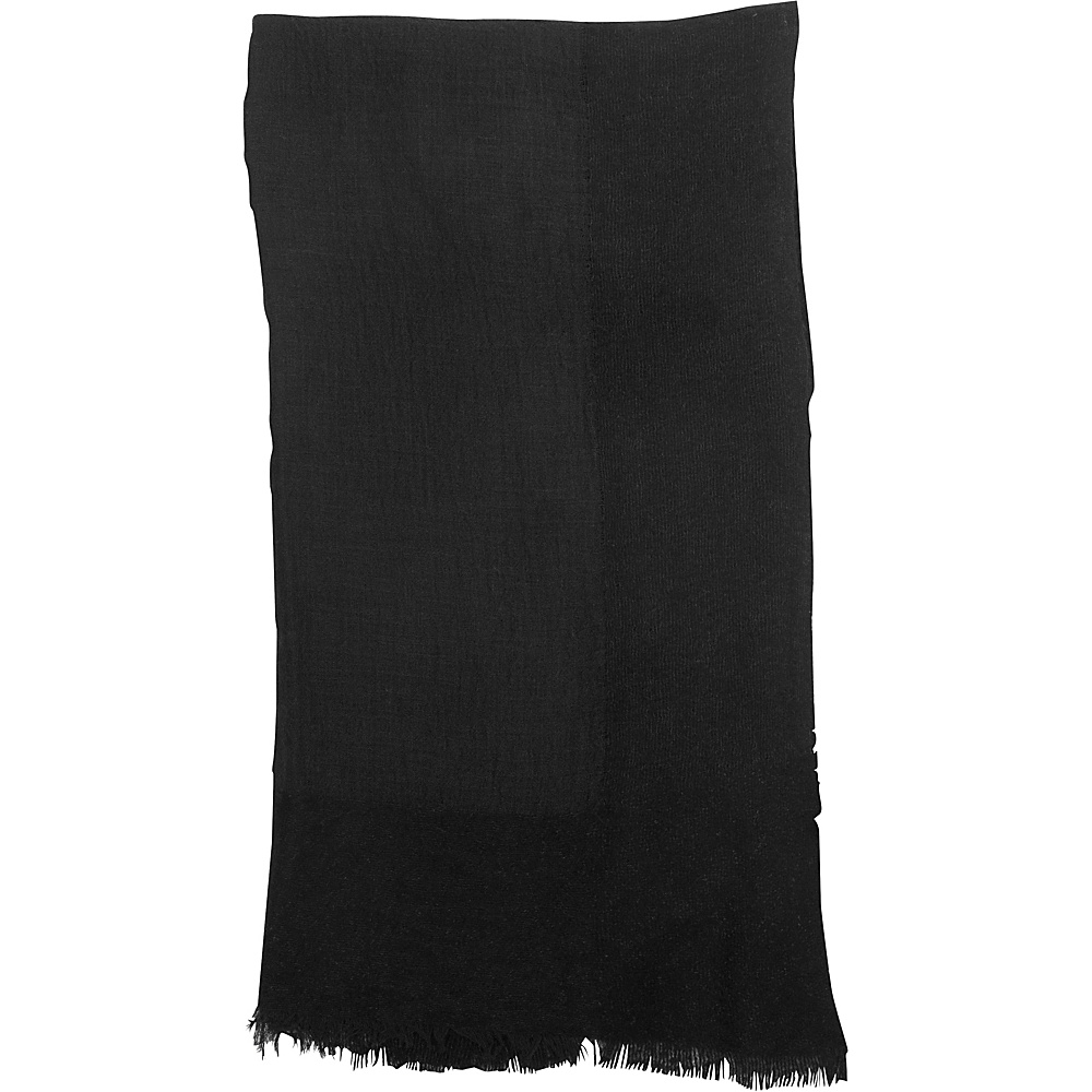 Kinross Cashmere Chenille Boarder Shawl Black - Kinross Cashmere Hats/Gloves/Scarves - Fashion Accessories, Hats/Gloves/Scarves