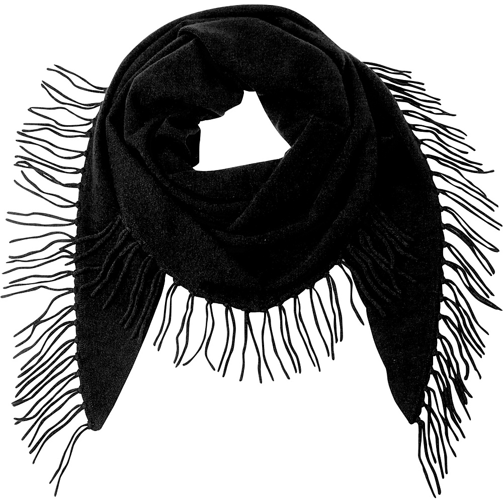 Kinross Cashmere Fringe Triangle Scarf Black - Kinross Cashmere Hats/Gloves/Scarves - Fashion Accessories, Hats/Gloves/Scarves