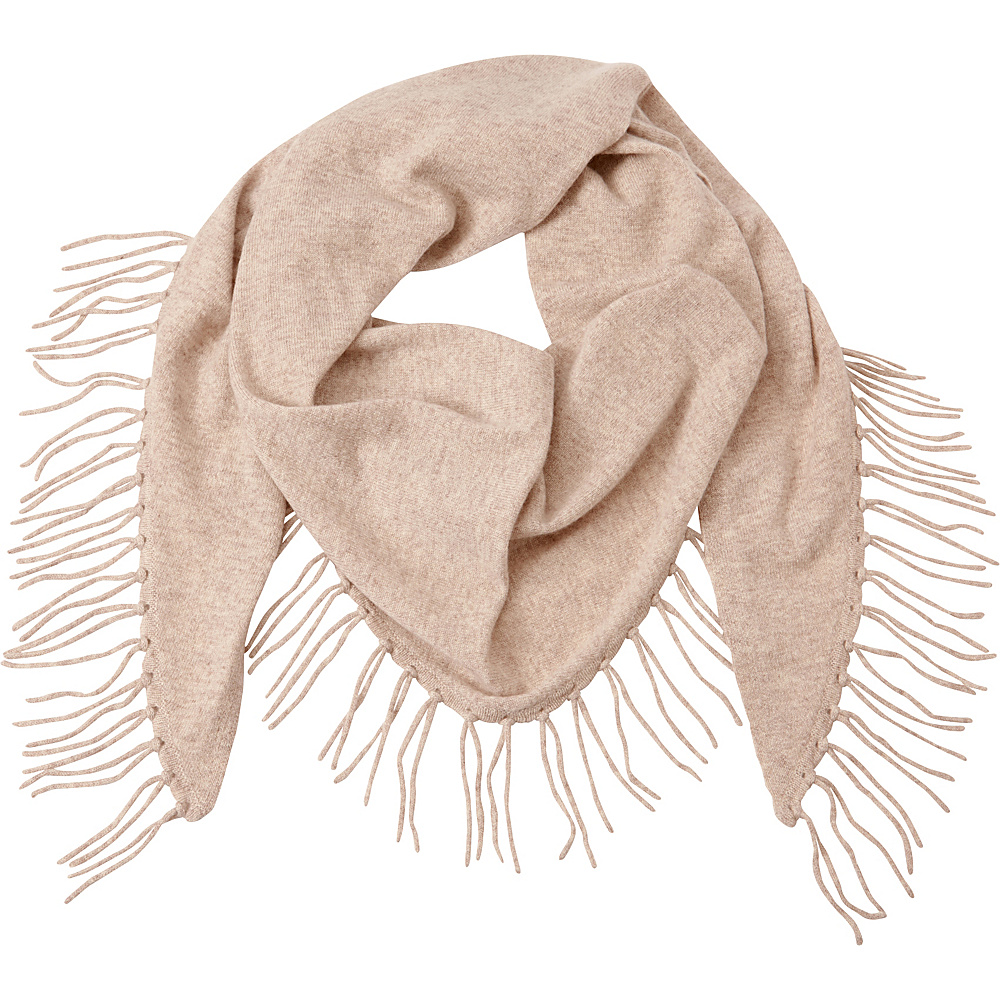 Kinross Cashmere Fringe Triangle Scarf Fawn - Kinross Cashmere Hats/Gloves/Scarves - Fashion Accessories, Hats/Gloves/Scarves