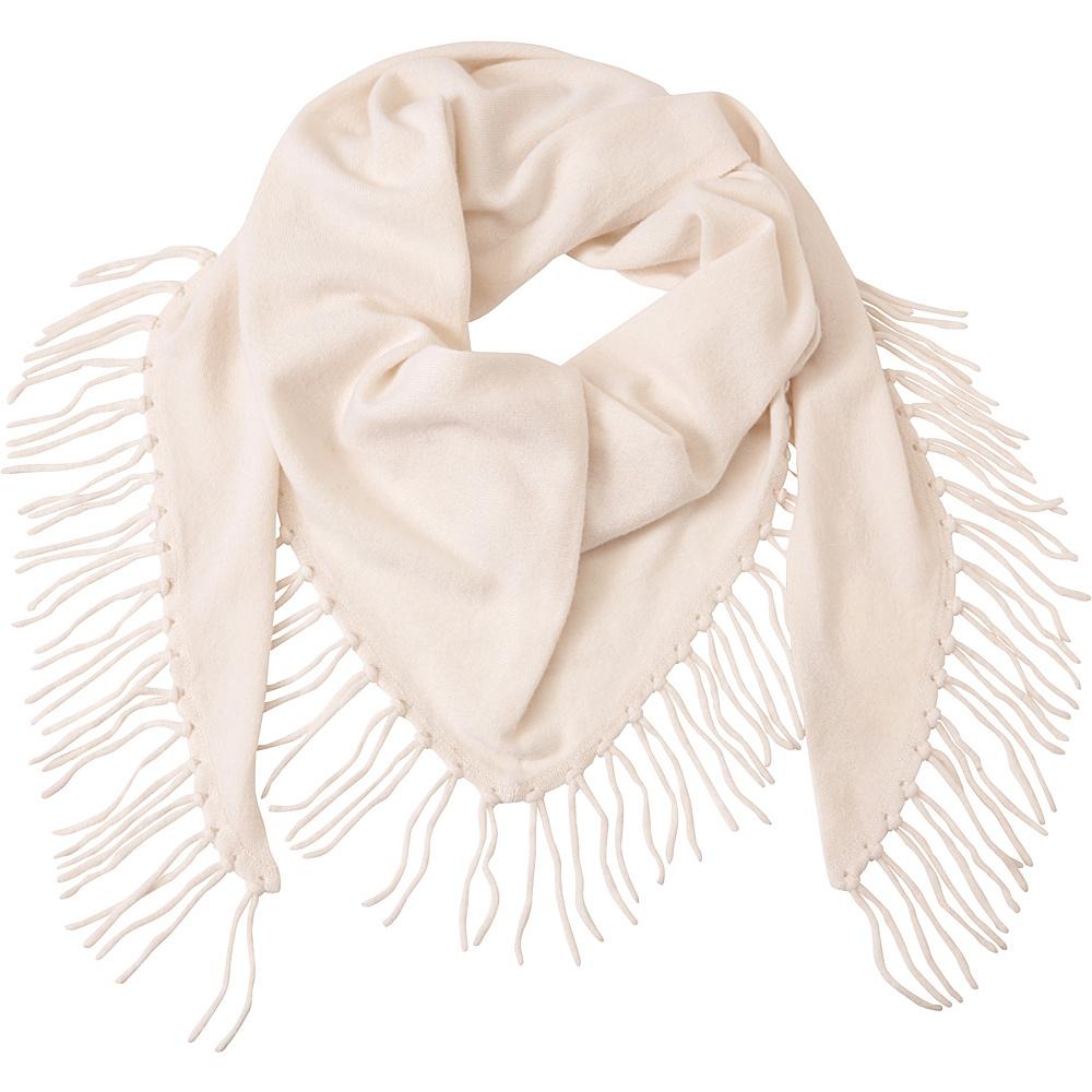 Kinross Cashmere Fringe Triangle Scarf Ivory - Kinross Cashmere Hats/Gloves/Scarves - Fashion Accessories, Hats/Gloves/Scarves