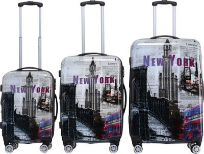 Rivolite New York City 3 Piece Expandable Hardside Spinner Luggage Set New York City - Rivolite Luggage Sets
