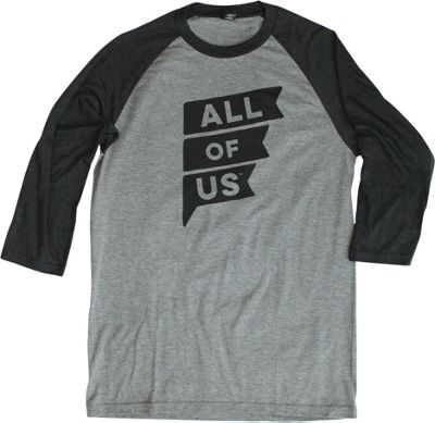 All of Us Mens Tri Blend 3/4 Sleeve Raglan Jersey S - Black Frost/Grey Frost - All of Us Men's Apparel