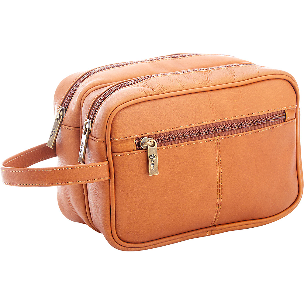 Royce Leather Colombian Leather Travel Toiletry Bag Tan - Royce Leather Luggage Accessories - Travel Accessories, Luggage Accessories